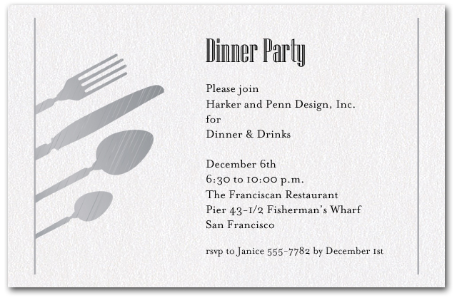 birthday dinner invite message ; zShimmery-Quartz-Utensils-Dinner-Party-Invitations