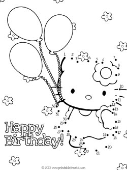 birthday dot to dot ; hello-kitty-birthday-dot-to-dot