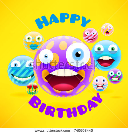 birthday emoji message ; stock-vector-happy-birthday-design-with-emojis-and-smileys-for-message-and-text-for-party-and-celebration-740603440