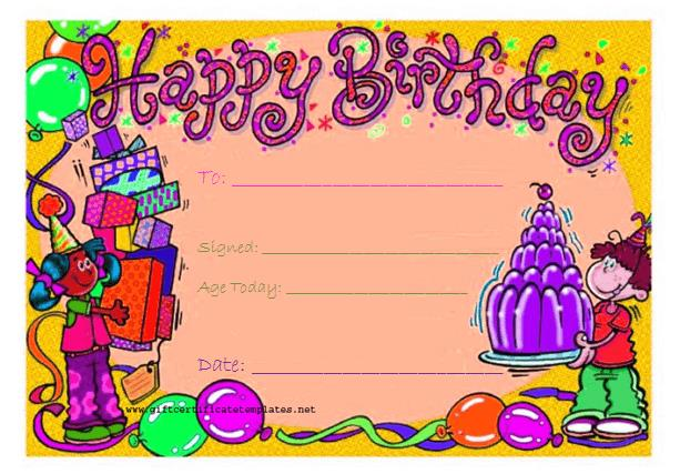 birthday gift card ; Candy-birthday-gift-certificate-template