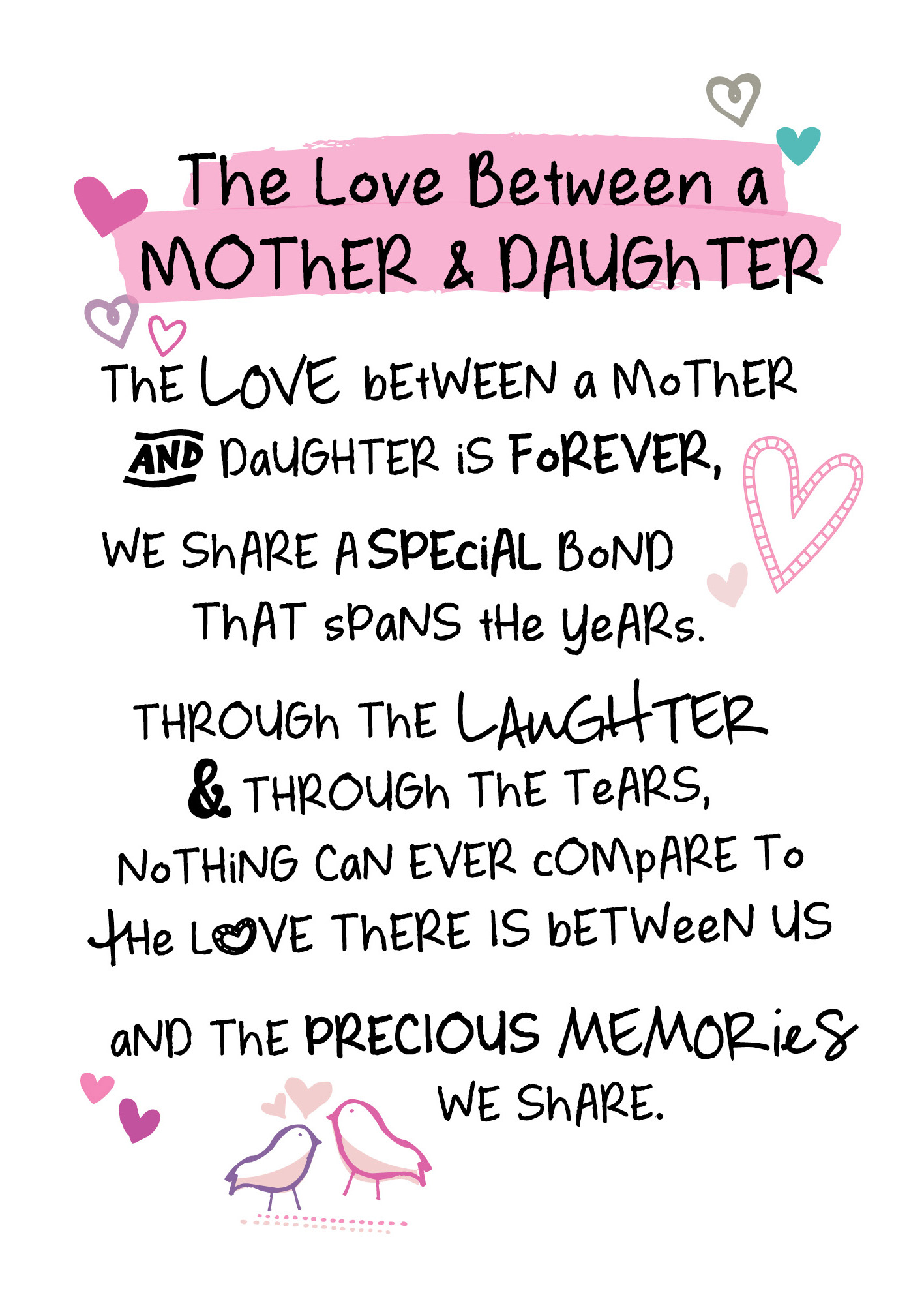 birthday greeting card for mother from daughter ; PTR084