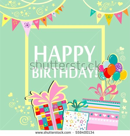 birthday greeting photo frame ; stock-photo-happy-birthday-greeting-card-celebration-mint-background-with-gift-boxes-balloons-frame-and-559400134