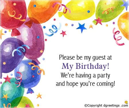 birthday invitation card message ; please-be-my-guest