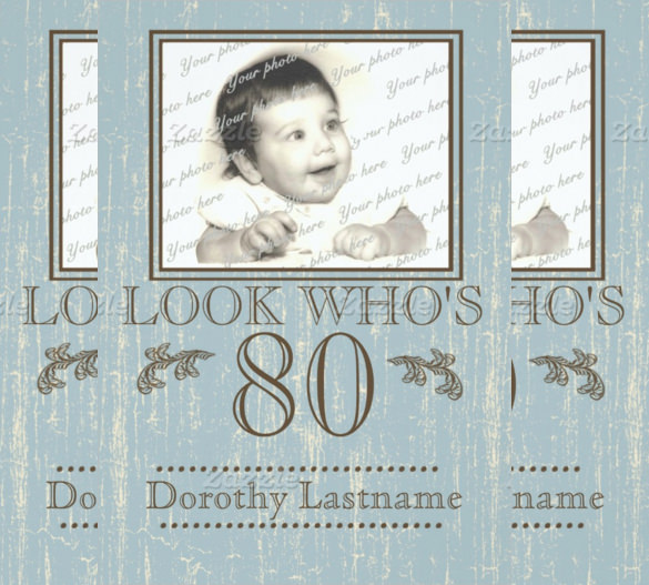 birthday invitation cards for grandmother ; Simple-And-Beautiful-Blue-80th-Birthday-Invitation-Paper-Card