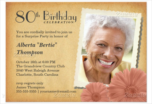 birthday invitation cards for grandmother ; Vintage-Daisy-80th-Birthday-Invitation-For-old-Women