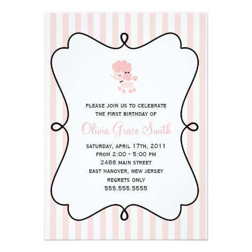 birthday invitation in french ; Pink-French-Poodle-Birthday-Invitation-Card