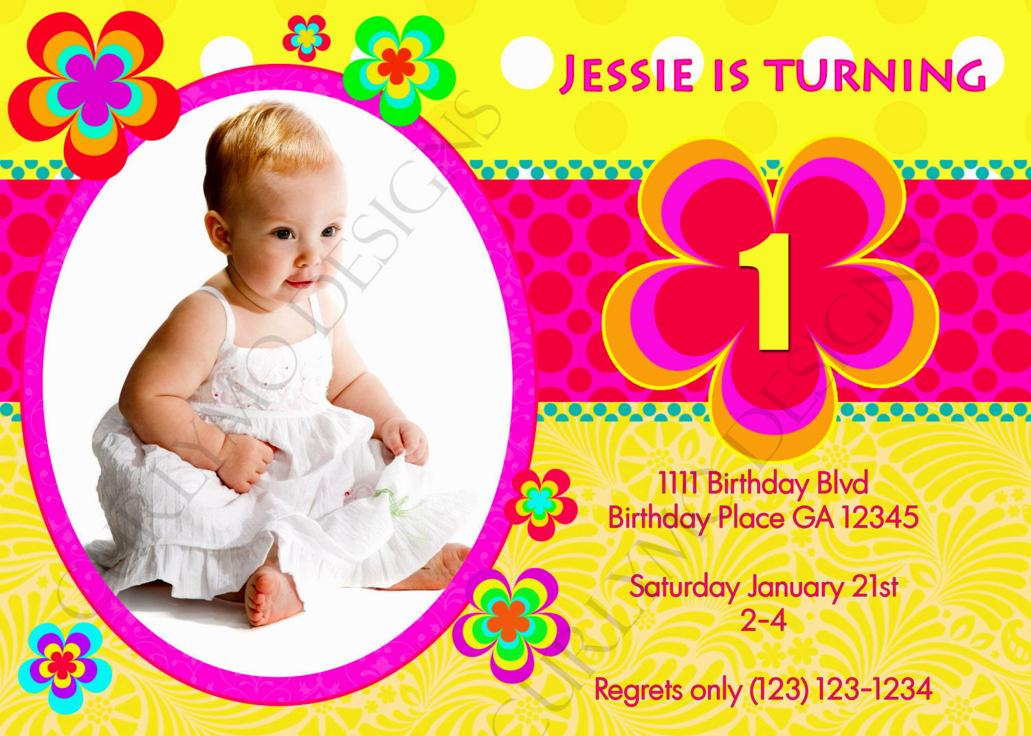 birthday invitation layout design ; simple-creation-birthday-invitation-card-design-perfect-finishing-concept-yellow-color-pink-ribbon-real-photo-picture-baby