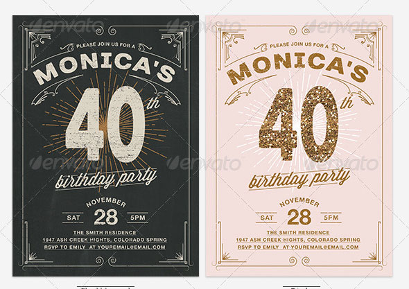 Birthday Invitation Photoshop Vintage Marvelous Template Psd