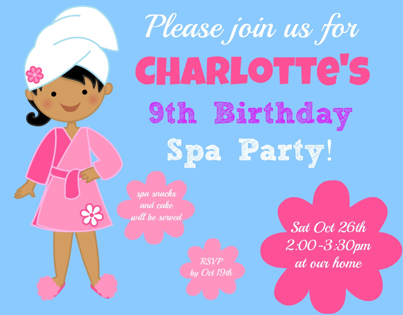 birthday invitation wording for 11 year old ; Spa-Party-Invite-completed