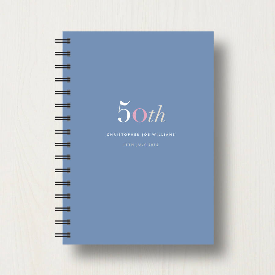 birthday jotter design ; original_personalised-50th-birthday-journal-or-guest-book