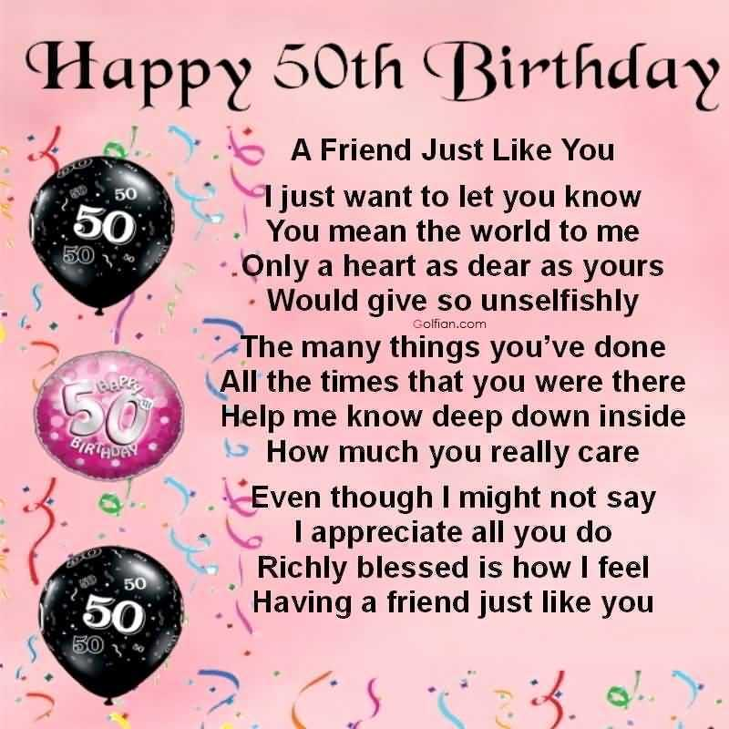Birthday Message 50th Female Wishes For Friend