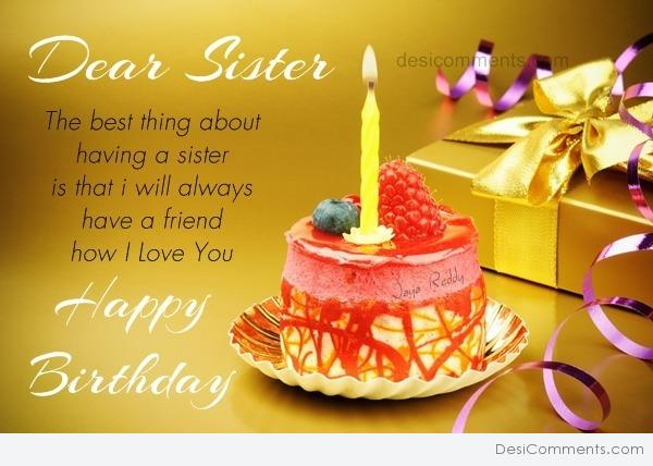birthday message for a dear sister ; 287893