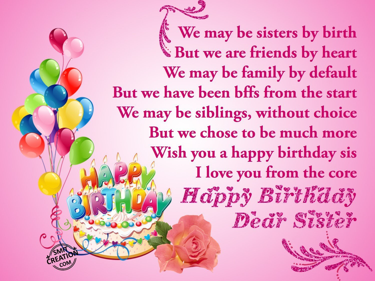 birthday message for a dear sister ; 438