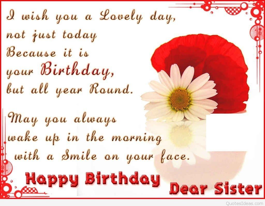 birthday message for a dear sister ; a887face6c437590447b20e3fd6b3f4c