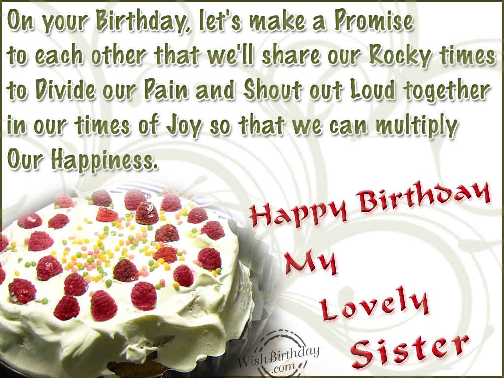 birthday message to a lovely sister ; 976