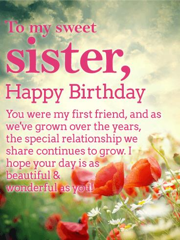birthday message to a lovely sister ; b_day_fsi53