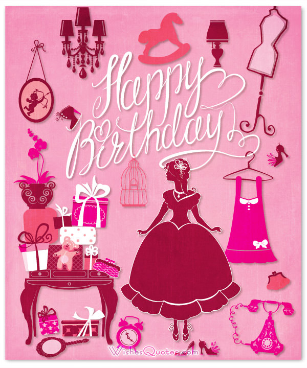 birthday message to baby daughter ; happy-birthday-pink-card