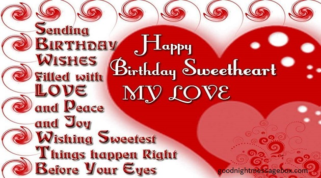 birthday message to my sweetheart ; hpy1