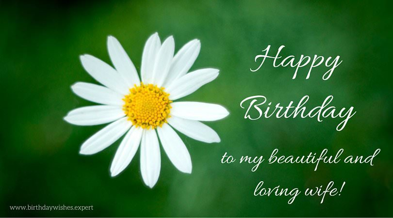 birthday message to my wife ; Happy-birthday-wish-for-wife-on-photo-with-flower
