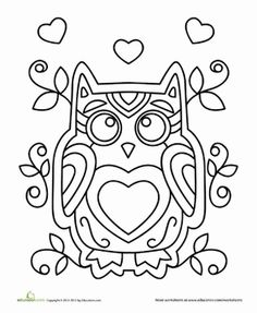 birthday owl coloring pages ; owls-valentine-s-day-coloring-page_464767