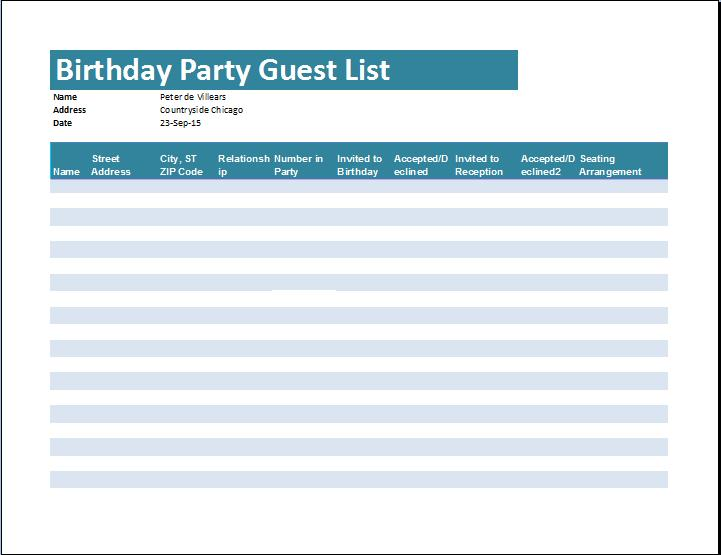 birthday party guest list template excel ; birthday-party-guest-list1
