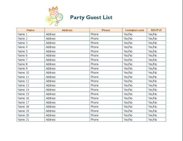 birthday party guest list template excel ; lt02806338