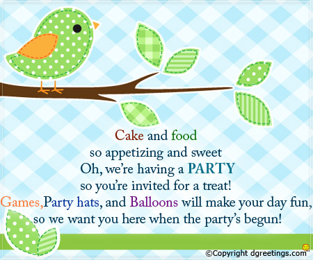 birthday party invitation message ; we-are-having-a-party-card