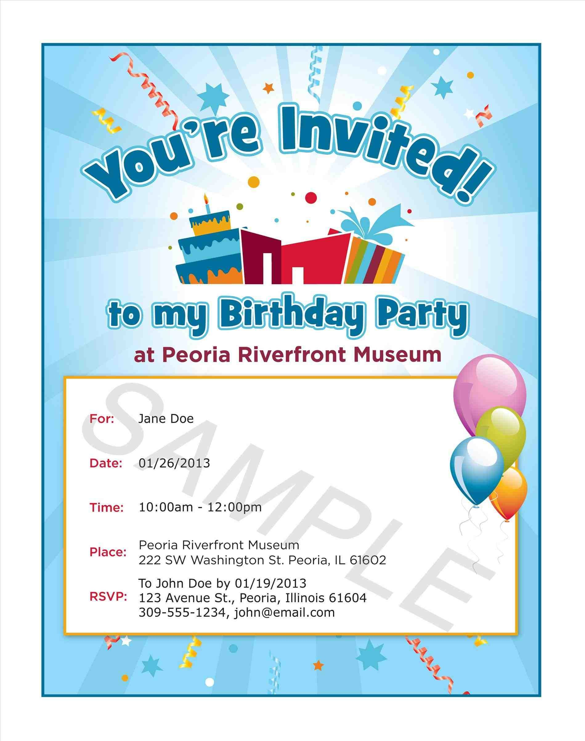 Birthday Party Invitation Sms For Save