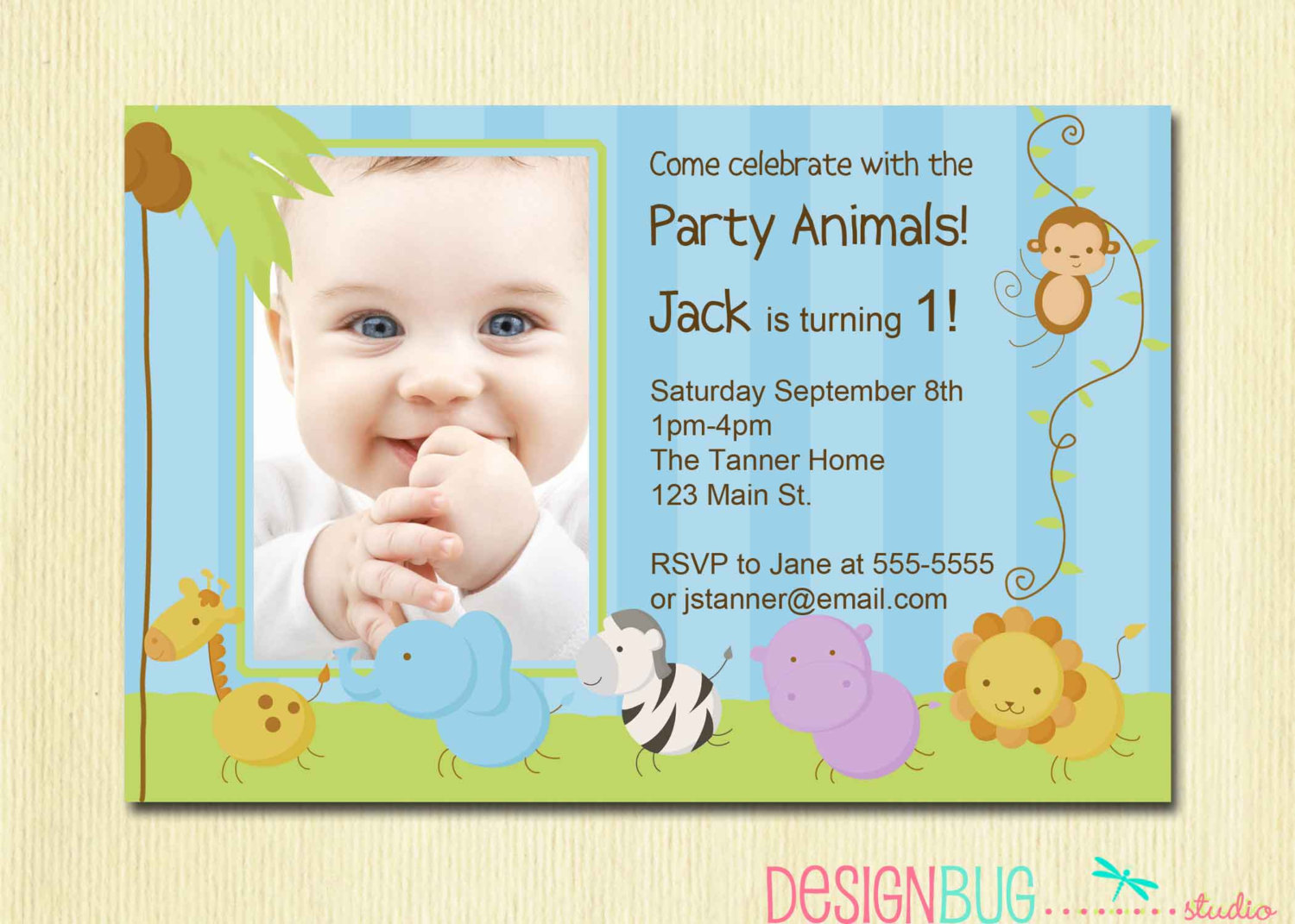 birthday party invitation wording for 1 year old ; first_birthday_boy_invitation_baby_jungle_safari_party_1