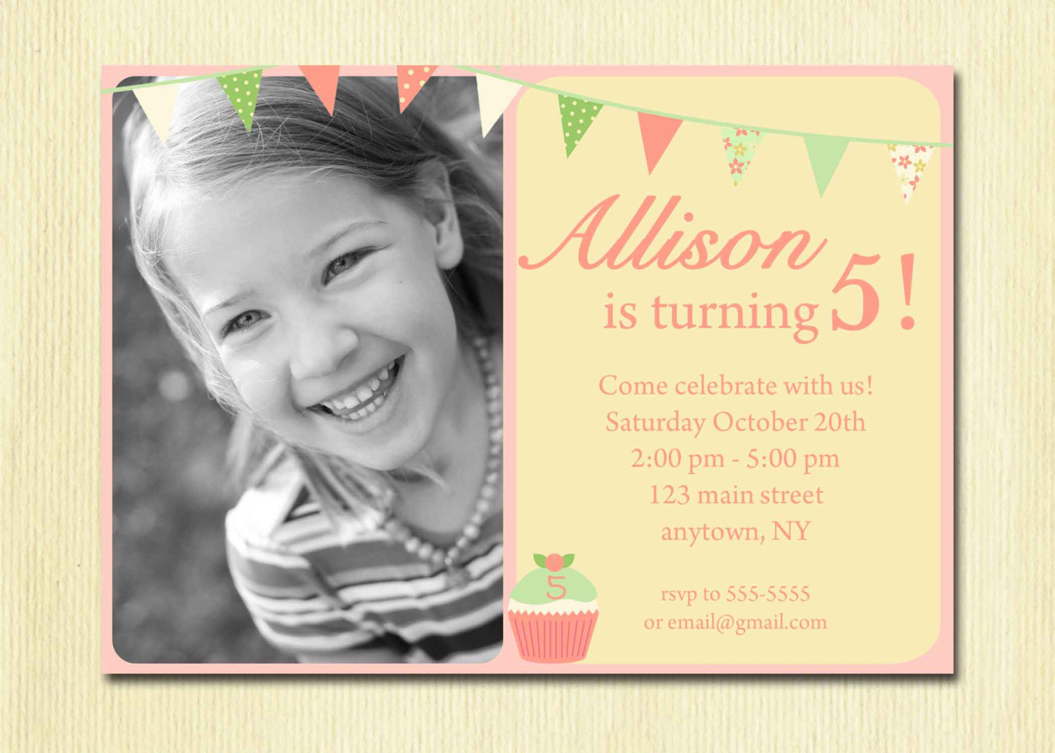 Birthday Party Invitation Wording For 1 Year Old Five