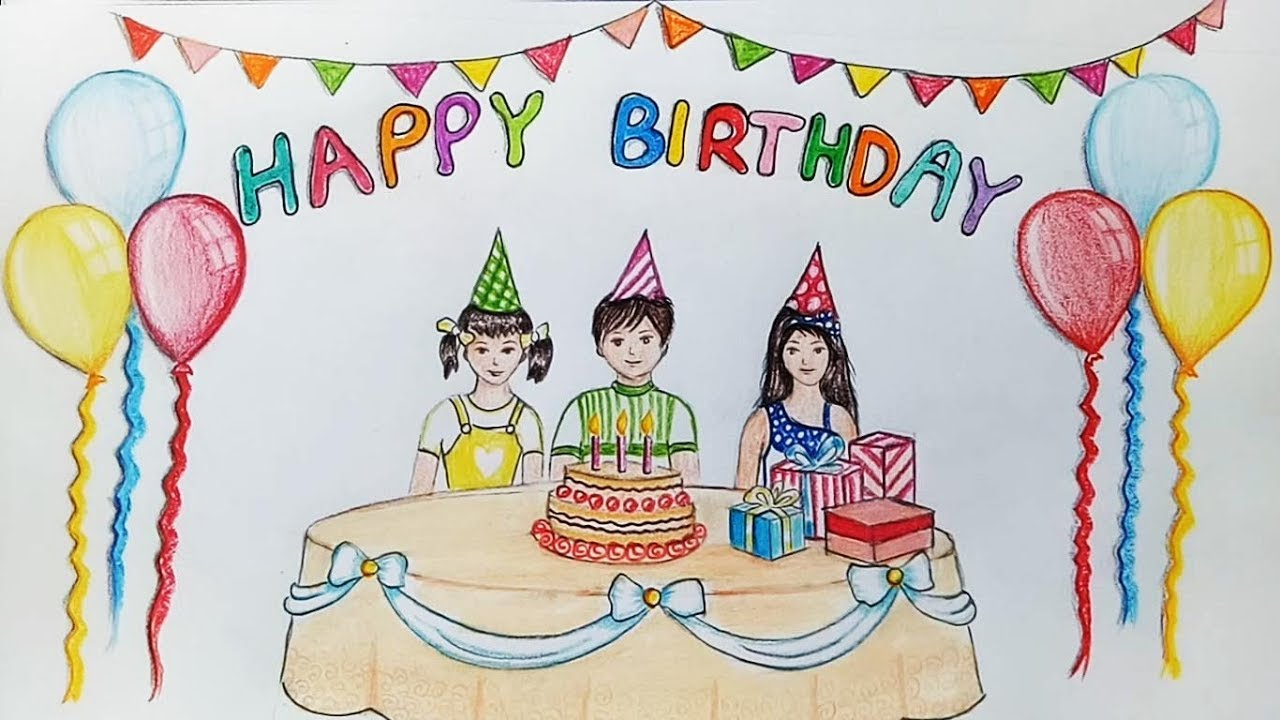 birthday party scene image ; birthday-party-scene-for-drawing-how-to-draw-scenery-of-birthday-party-stepstep-youtube