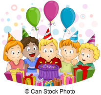 birthday party scene image ; illustration-of-a-kid-blowing-his-birthday-candles-stock-illustrations_csp5278107