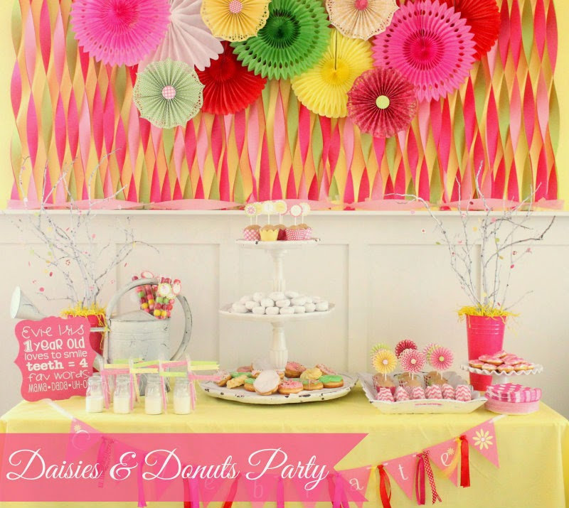 birthday party themes for girls ; Super-Cute-Daisies-and-Donuts-Birthday-Party-lilluna