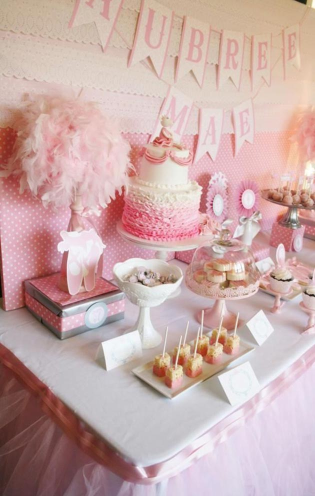 birthday party themes for girls ; ballerina-girls-first-birthday-party-theme