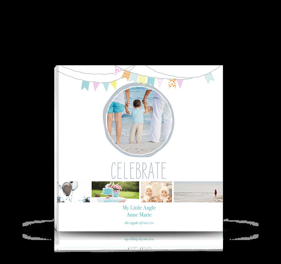 birthday photo album cover design ; 8x8-party-banner-celebrate-square-soft-cover-photo-book-single-photo-birthdays-showers-graduation