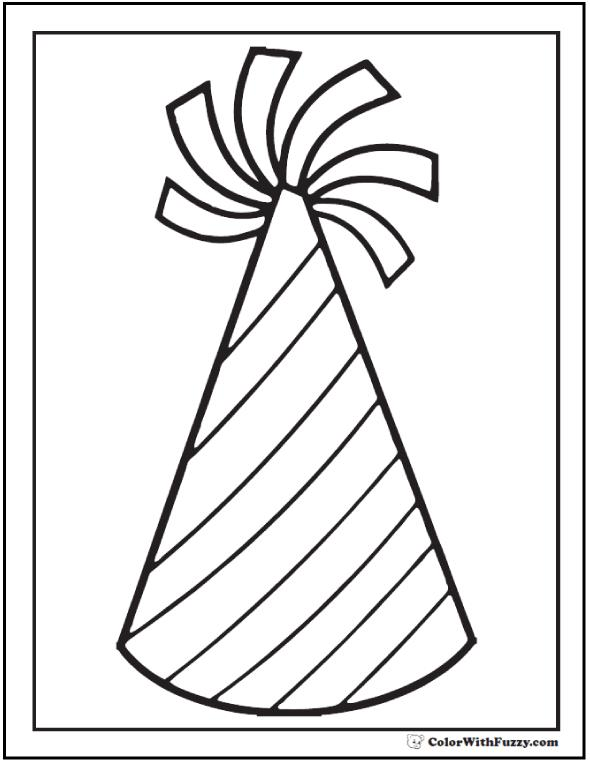 birthday pictures to colour ; birthday-hat-coloring