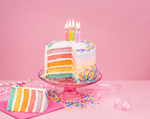 birthday pink background ; Birthday-cake-with-candles-and-pink-background