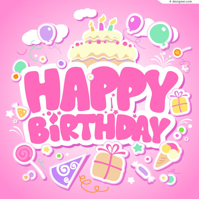 birthday pink background ; Happy-Birthday-pink-background-vector-material-60133