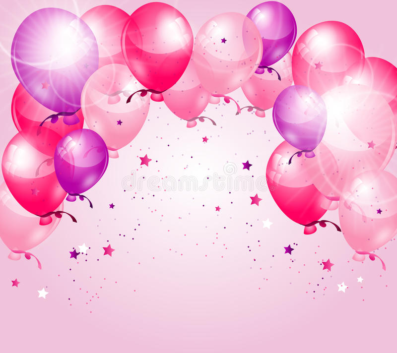 birthday pink background ; pink-purple-birthday-background-balloons-shining-91532894