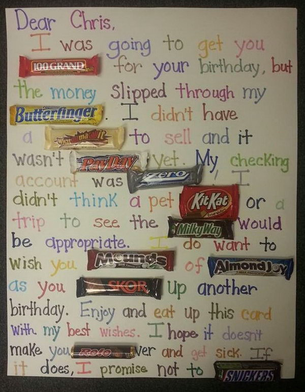 birthday poster with candy ; 1-candy-bar-saying-ideas