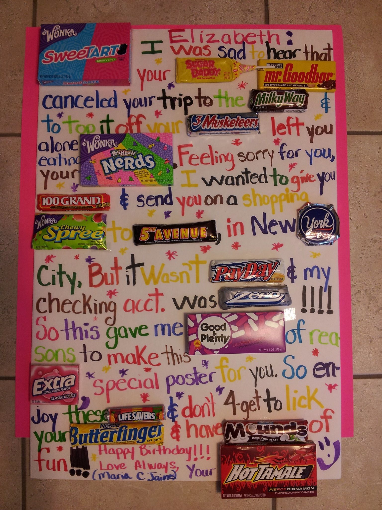 birthday poster with candy ; 8b14038f5c4b2b1d15a576ba79666e0e