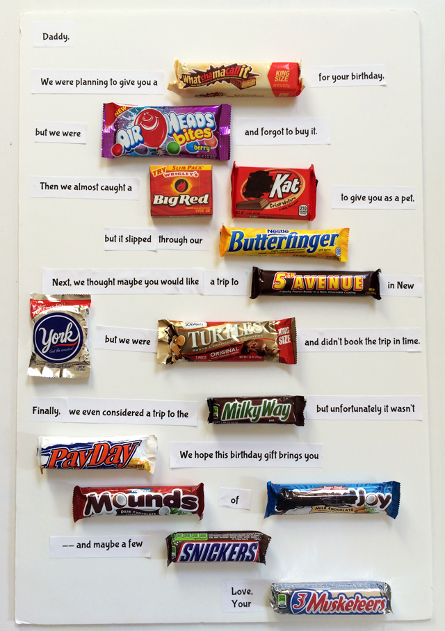 birthday poster with candy ; candy-gram