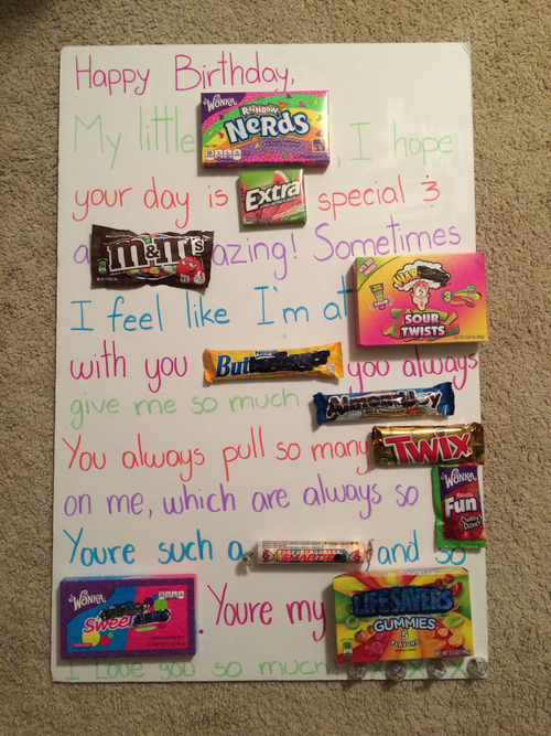 birthday poster with candy ; large