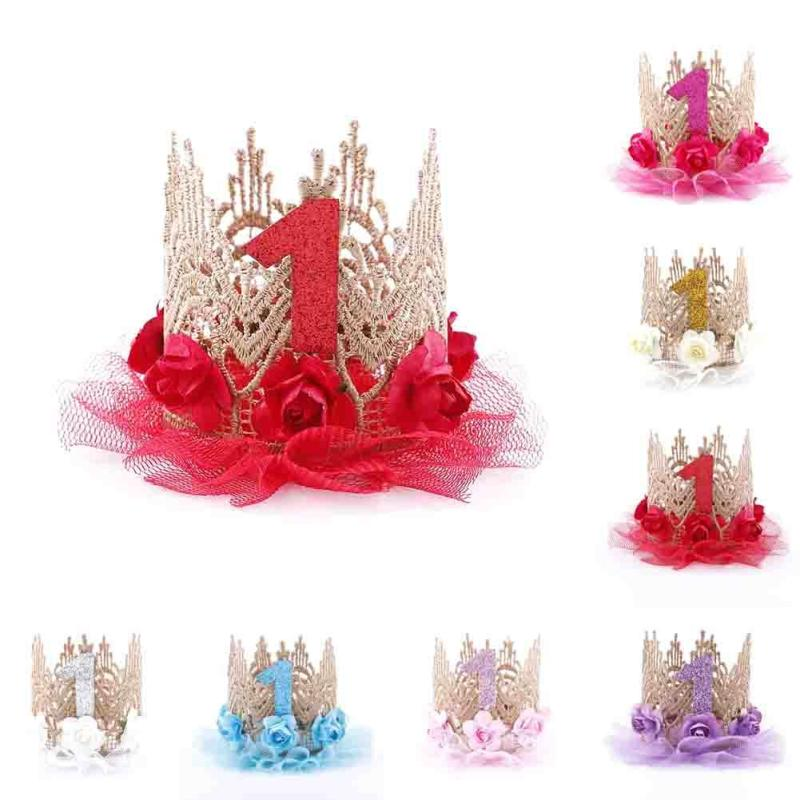 birthday princess hat ; Girl-s-Crown-Hat-Flower-Birthday-Party-Princess-Hats-Kids-Cute-Lace-Cap-Queen-Crown-Children