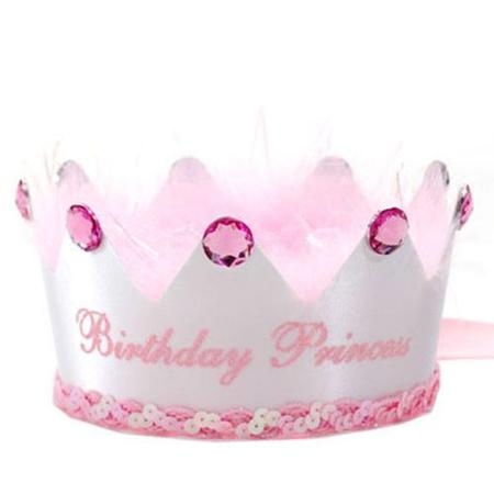 birthday princess hat ; boutique-baby-little-girl-white-pink-birthday-princess-party-hat-crown_384009