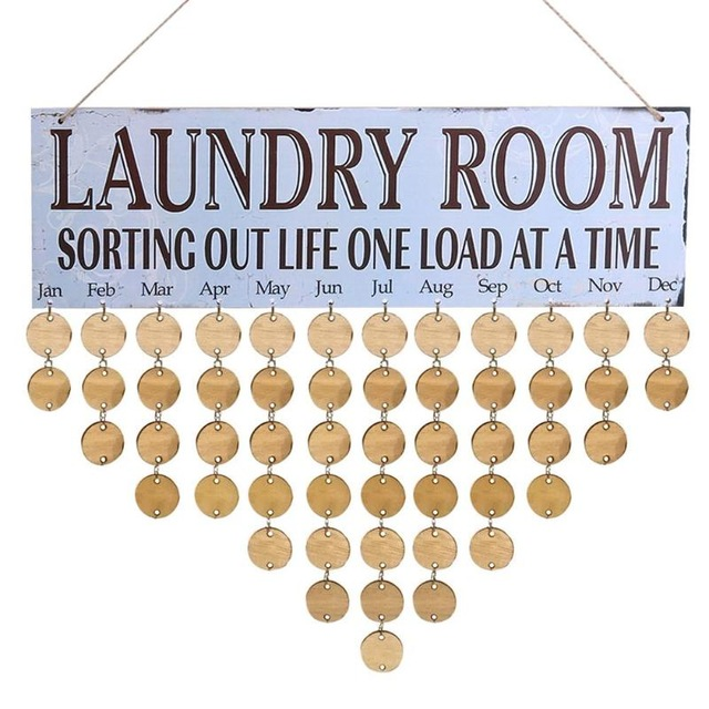 birthday reminder sign ; Wooden-Hanging-Calendar-Board-Birthday-Reminder-Plaque-Sign-Friends-Family-Laundry-Room-DIY-Calendar-Home-Decor