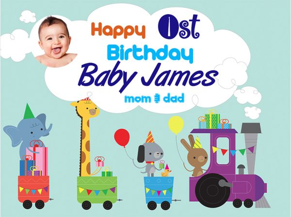 birthday tarpaulin design for baby boy ; animals-on-the-train-front-600x448