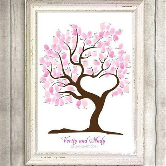 birthday tree sign ; Creative-Wedding-Fingerprint-Tree-Signature-Canvas-Printing-Sign-Tree-For-Wedding-Birthday-Baby-Shower-Party-Decoration