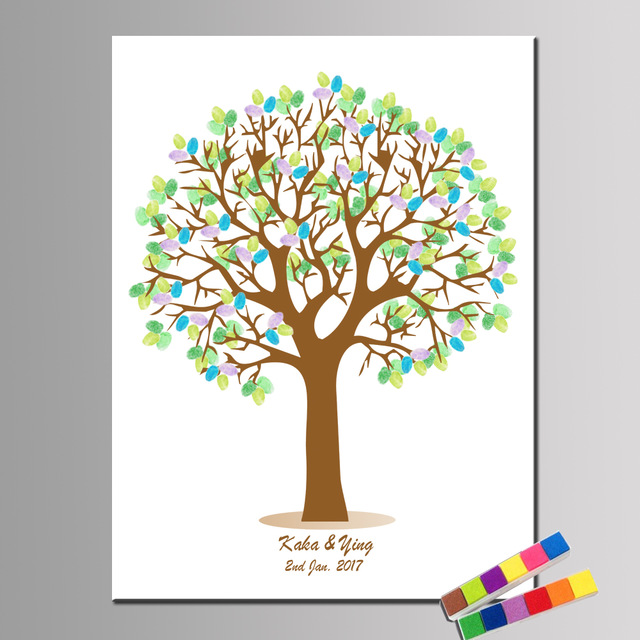 birthday tree sign ; Custom-Names-and-date-Party-Guestbook-For-Fingerprint-Sign-Wedding-Decoration-Fingerprint-Tree-Birthday-Baptism-and