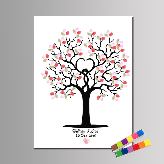 birthday tree sign ; Custom-Names-and-date-Wedding-Guestbook-For-Fingerprint-Sign-Wedding-Decoration-Fingerprint-Tree-Birthday-Baptism-and